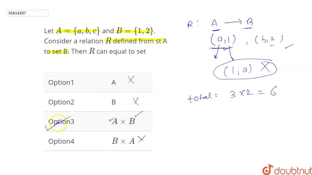 Solution for Let A={a,b,c} and B={1,2}. Consider a relation