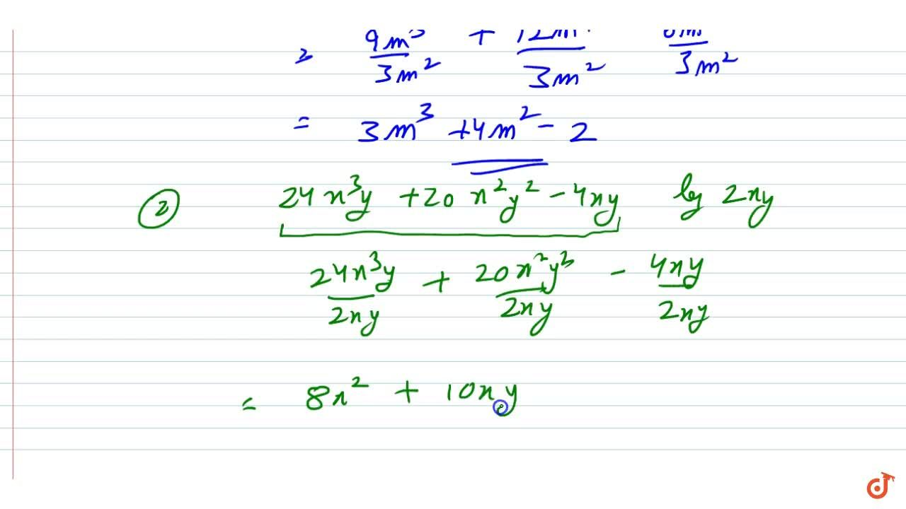 Solution for Divide:  9m^5+12 m^4-6m^2\ \  by\ \ 3m^2  (2)