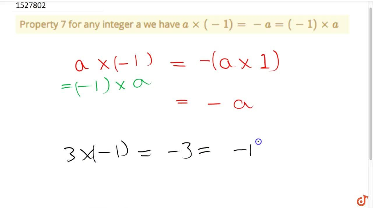 Property 7 for any integer a we have a xx (-1)= - a = (-1) xxa