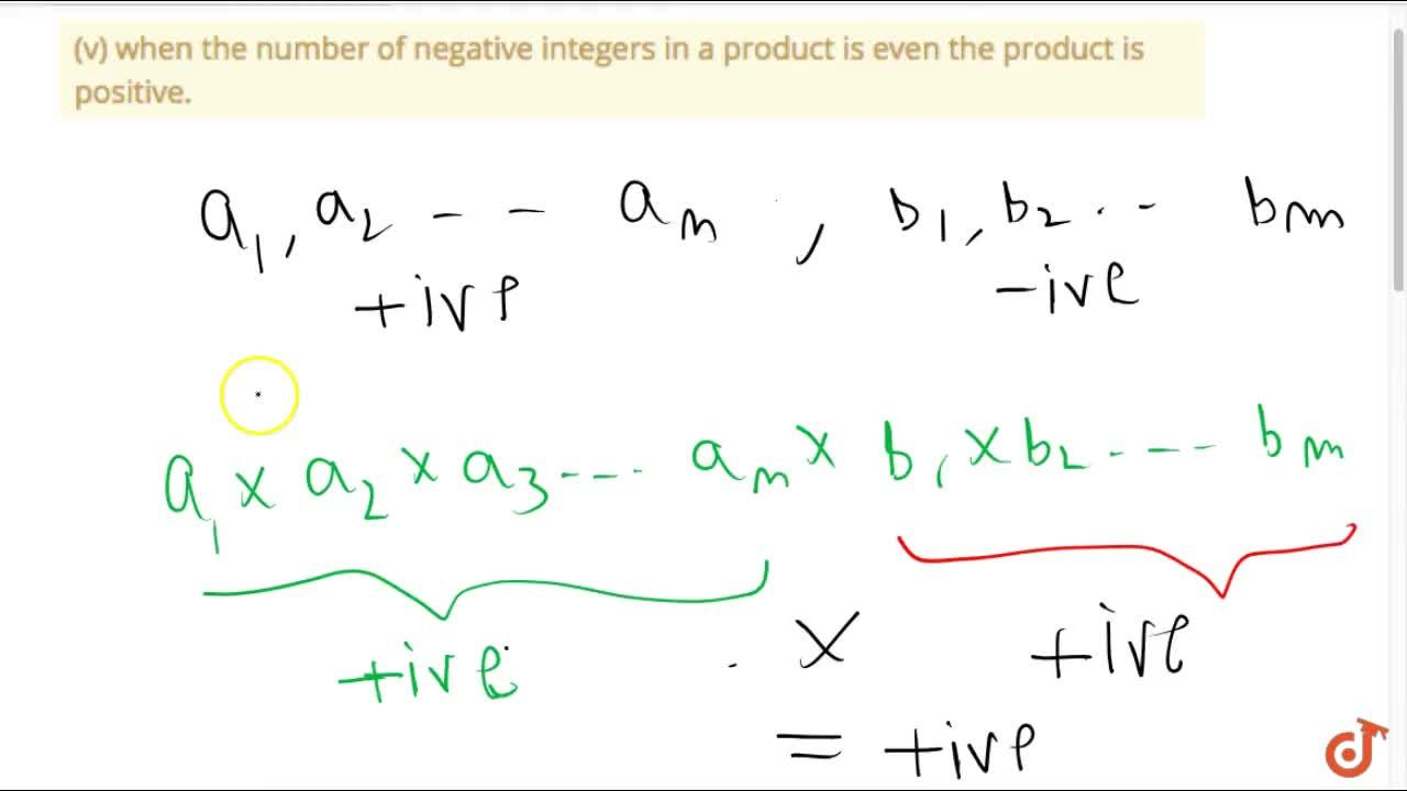 Solution for (v) when the number of negative integers in a prod