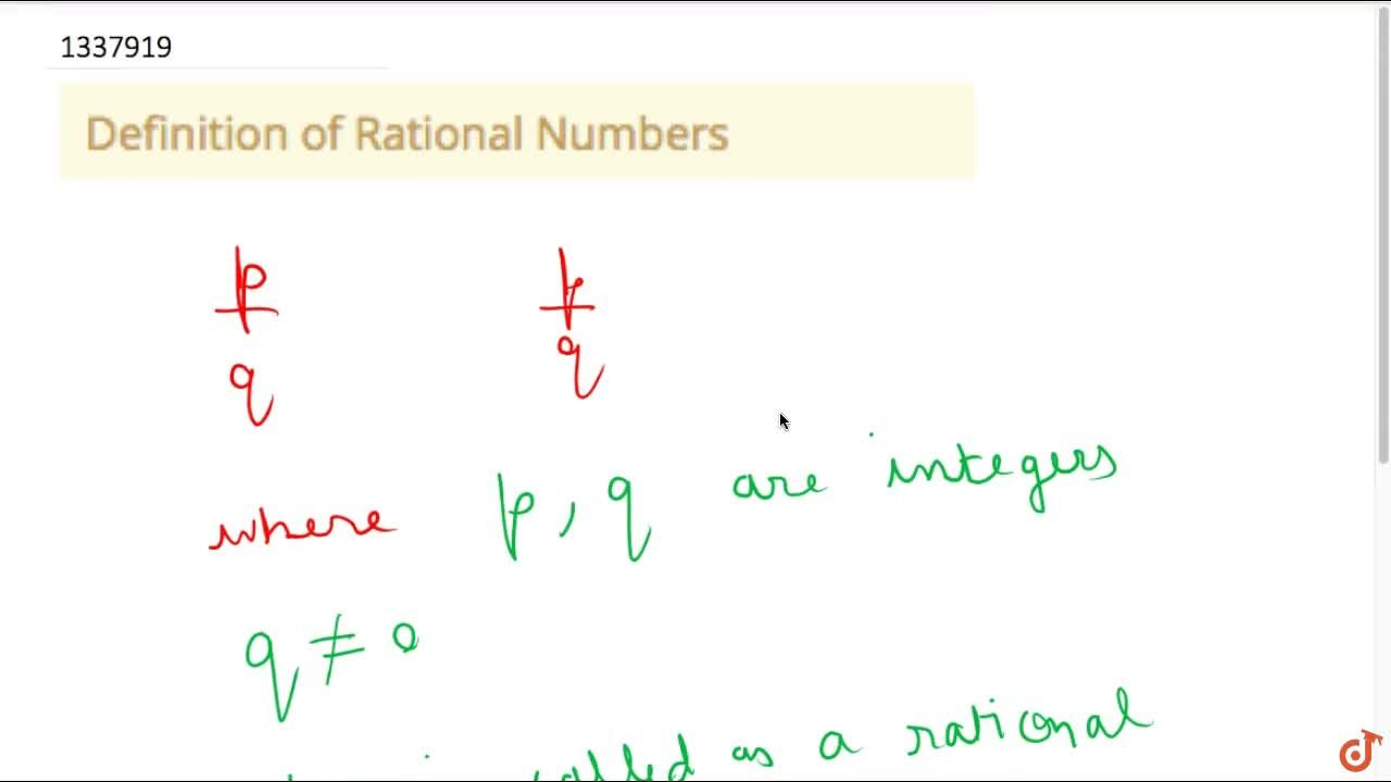 Solution for Definition of Rational Numbers