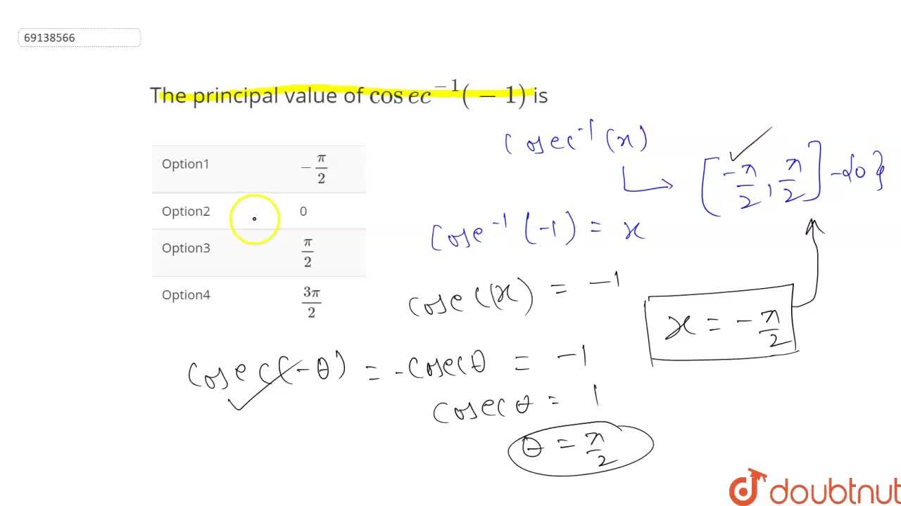 Solution for The principal value of cosec^(-1)(-1) is