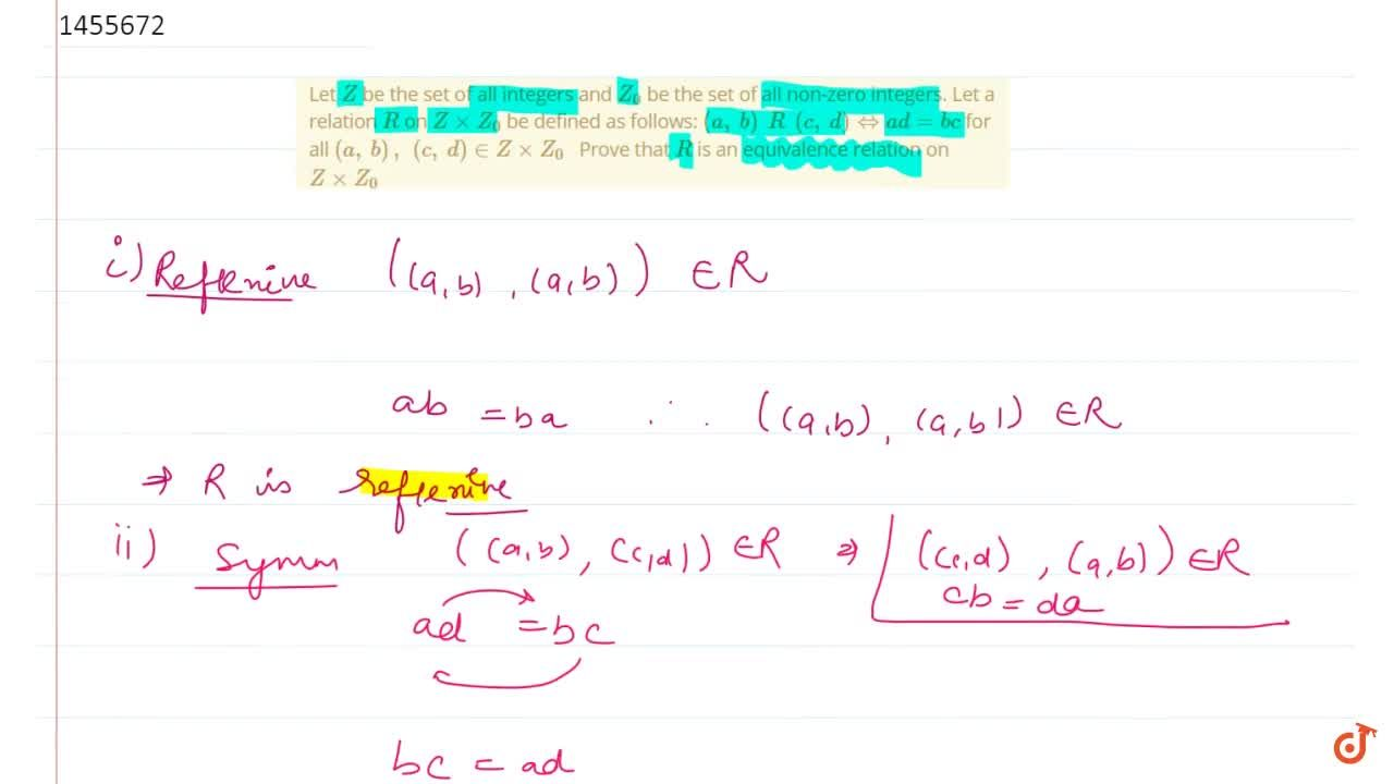 Solution for Let Z be the set of all integers and Z_0 be th
