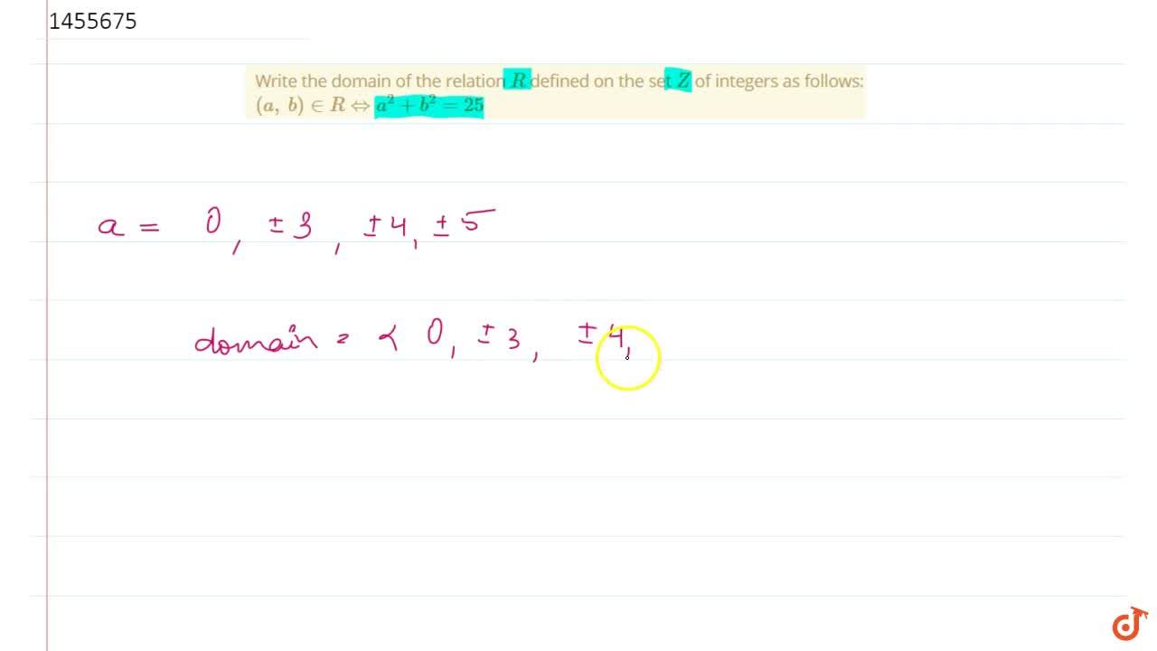 Solution for Write the domain of the relation R defined on th