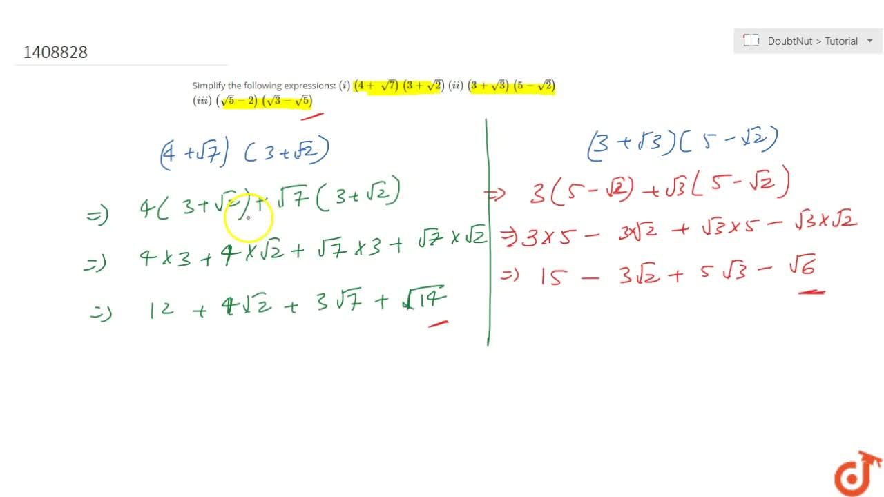 Solution for Simplify the following expressions: (i)\ (4+\ sqr