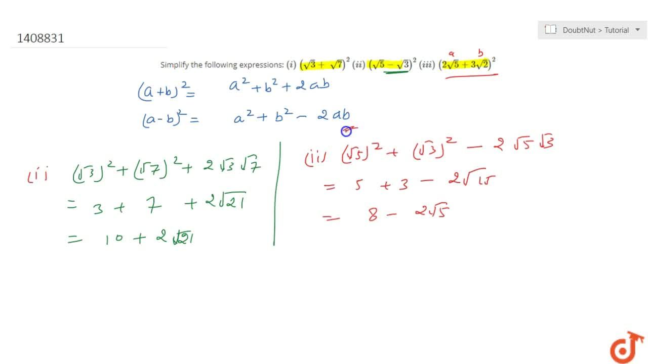 Solution for Simplify the following expressions: (i)\ (sqrt(3)