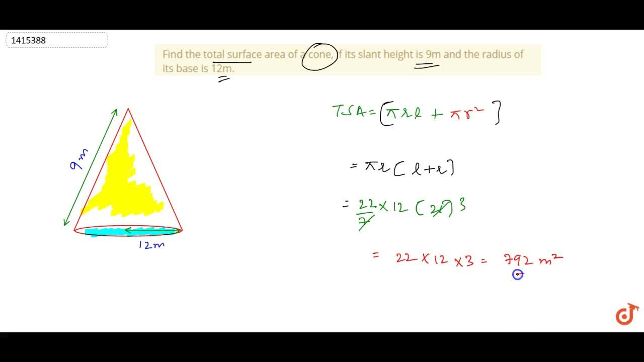 Solution for Find the total surface area of a cone, if its   s