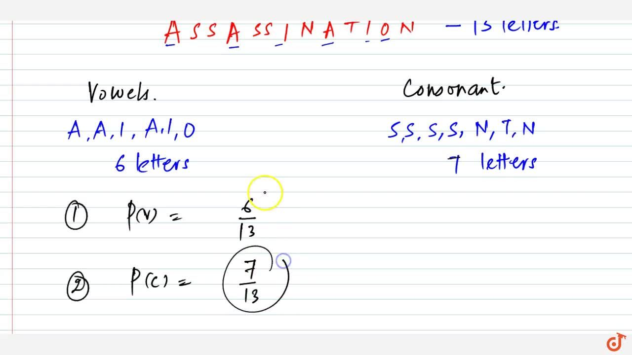 Solution for A letter is chosen at random from the word   ASSA
