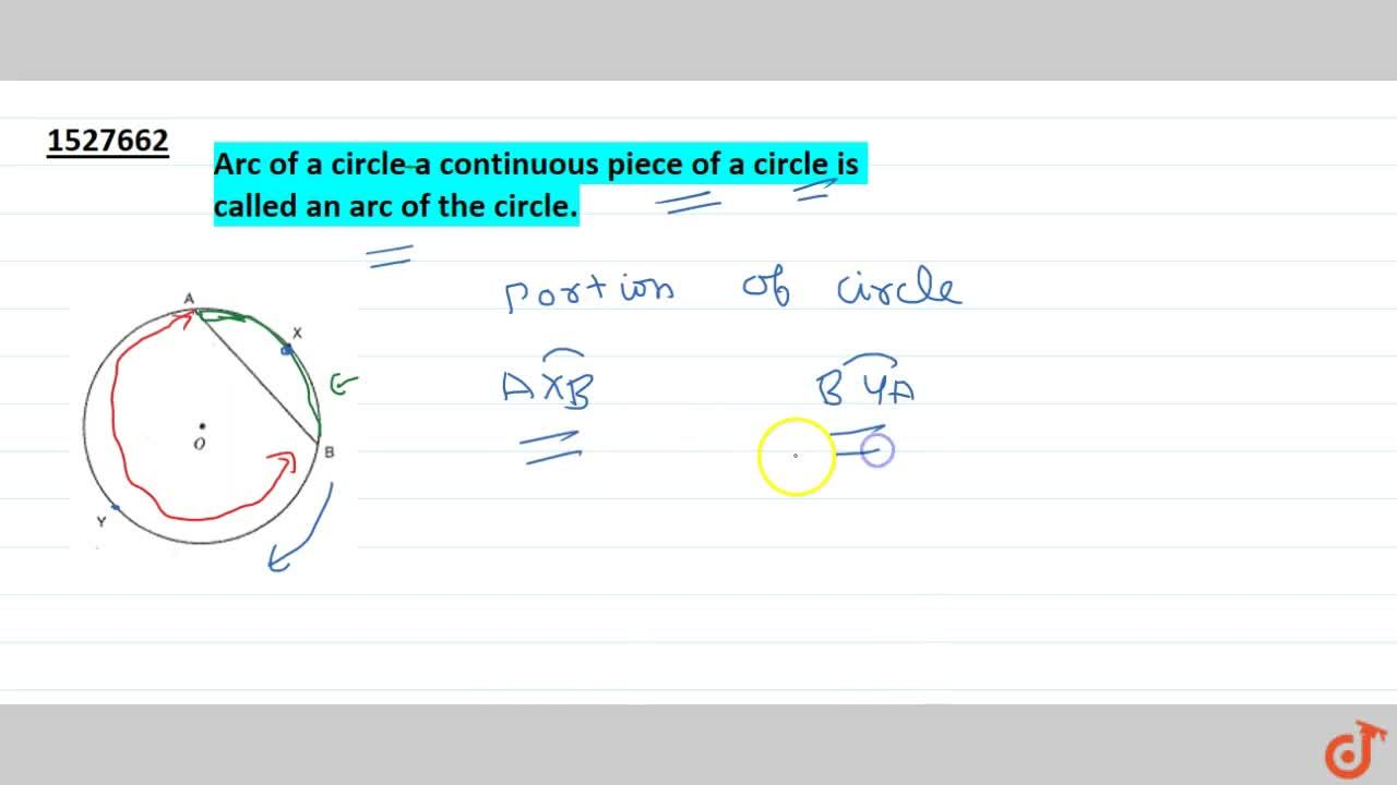 Solution for Arc of a circle a continuous piece of a circle is