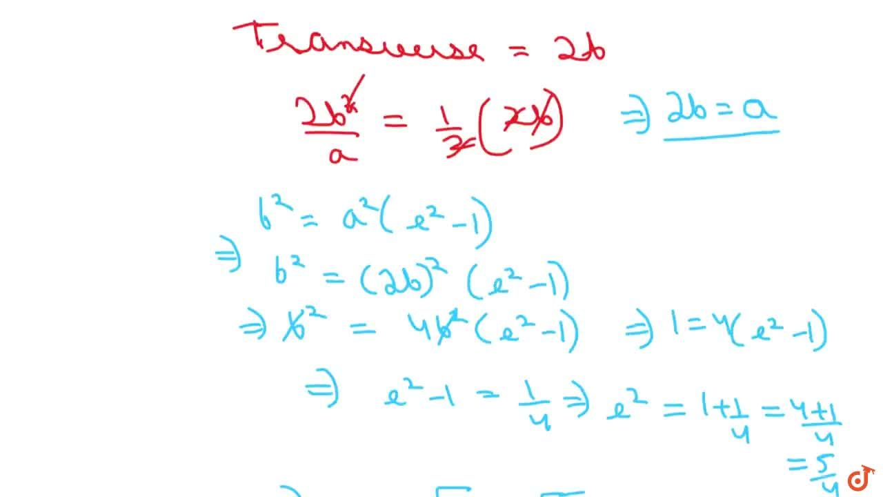Solution for The eccentricity of the hyperbola whose latus rect