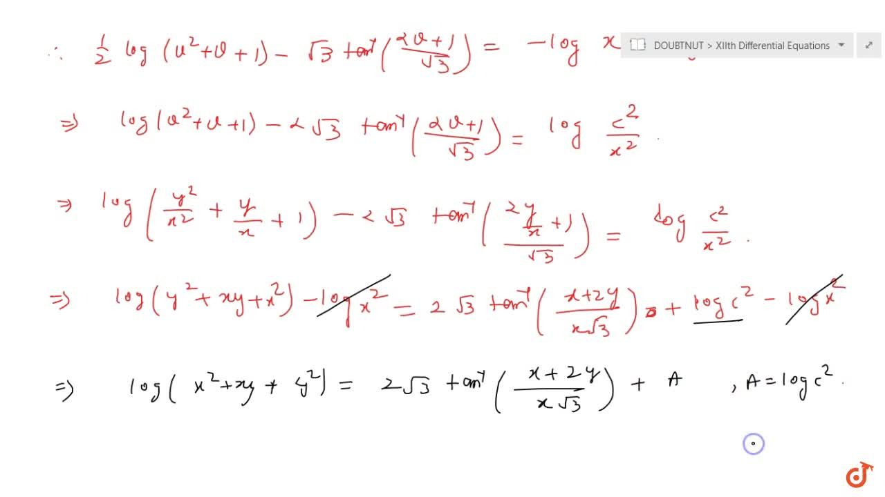 Solve the following differential equation: (x-y)(dy),(dx)=x+2y