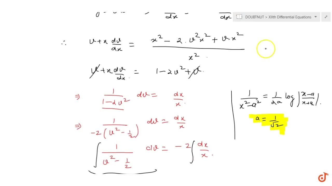 Solve the following differential equation: x^2(dy),(dx)=x^2-2y^2+x y