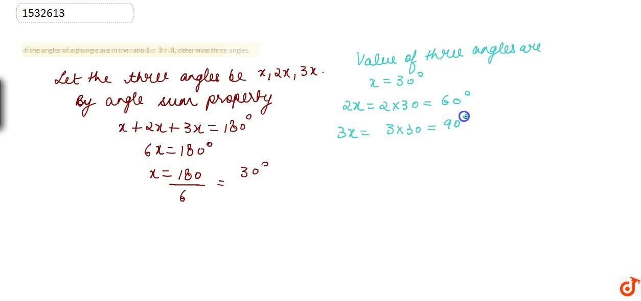 Solution for If the angles of a   triangle are in the ratio 1