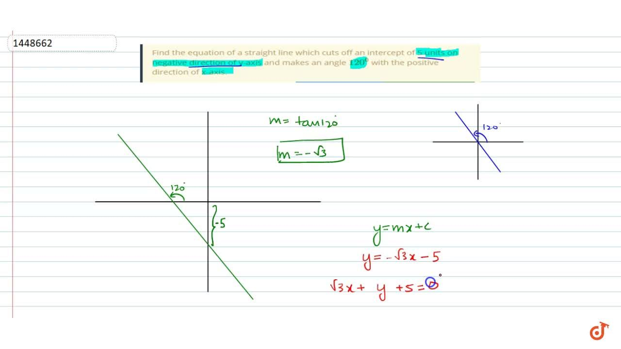 Solution for Find the equation of a straight line which cuts of