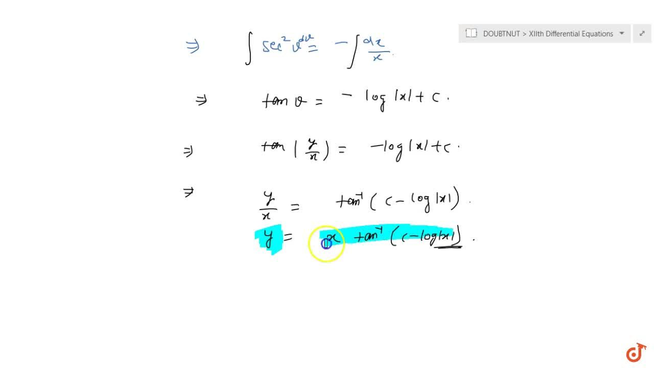 Solution for Solve the following differential equation: \ x(dy