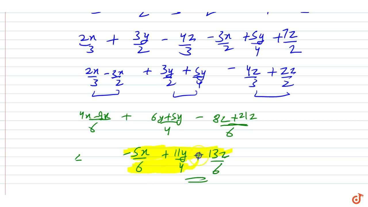 Subtract:   3,2x-5,4y-7,2z\ from2,3x+3,2y-4,3z