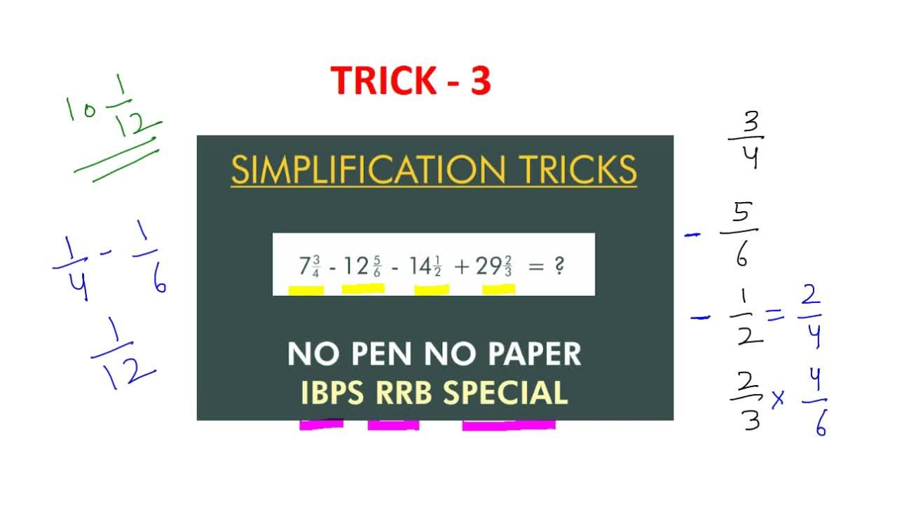 Solution for TRICK 3 | SIMPLIFICATION OF FRACTION | NO PEN NO P