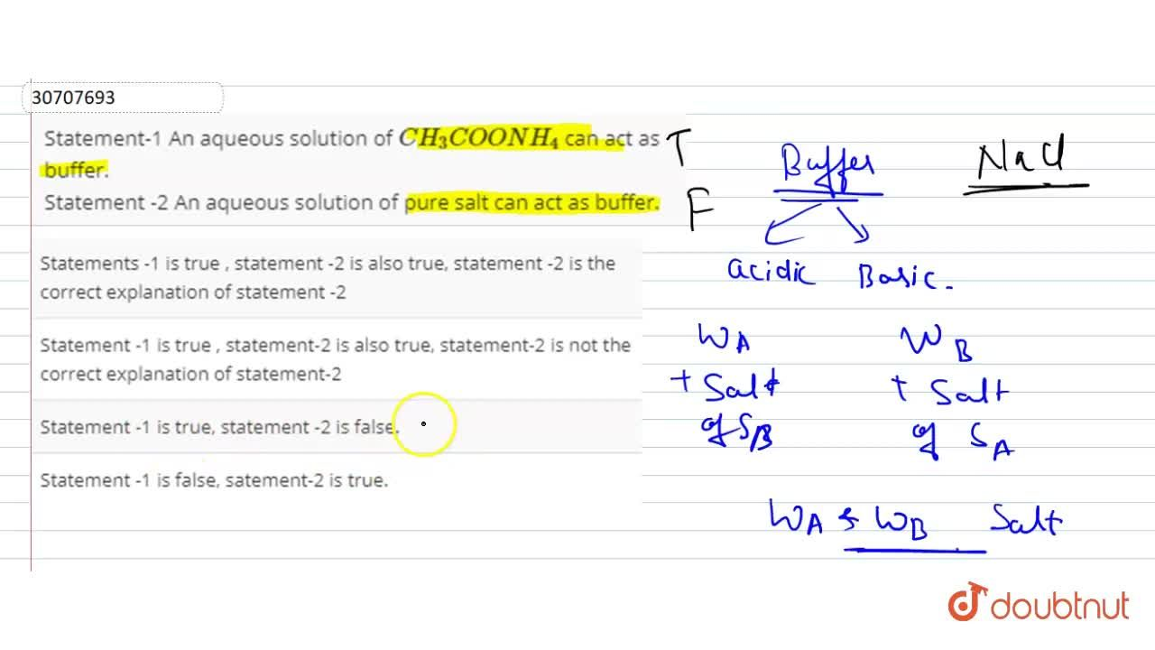 Solution for Statement-1 An aqueous solution of CH_(3)COONH_(4