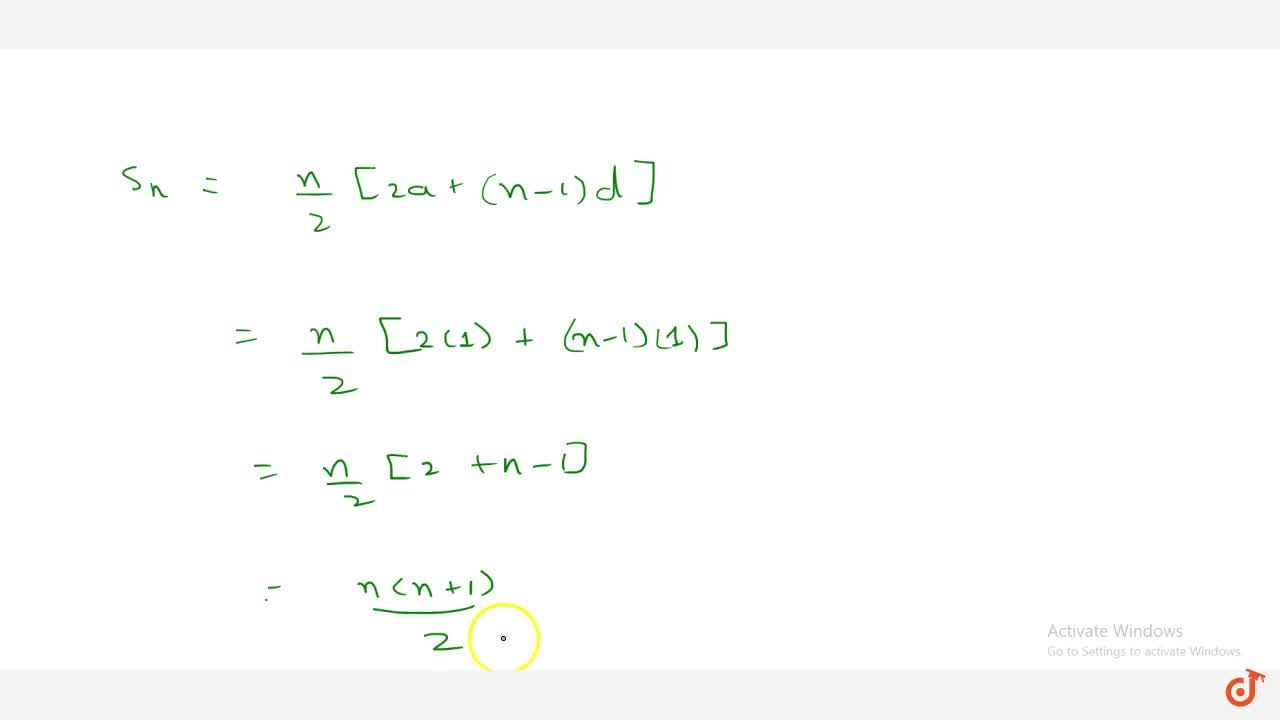Solution for Find the   sum of first n natural   numbers.