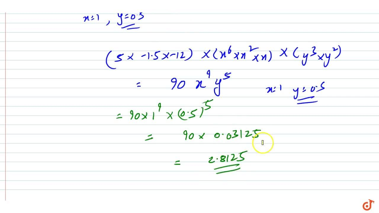 Solution for  Find the value of (5x^6)xx\ (-1. 5 x^2y^3)xx(-12