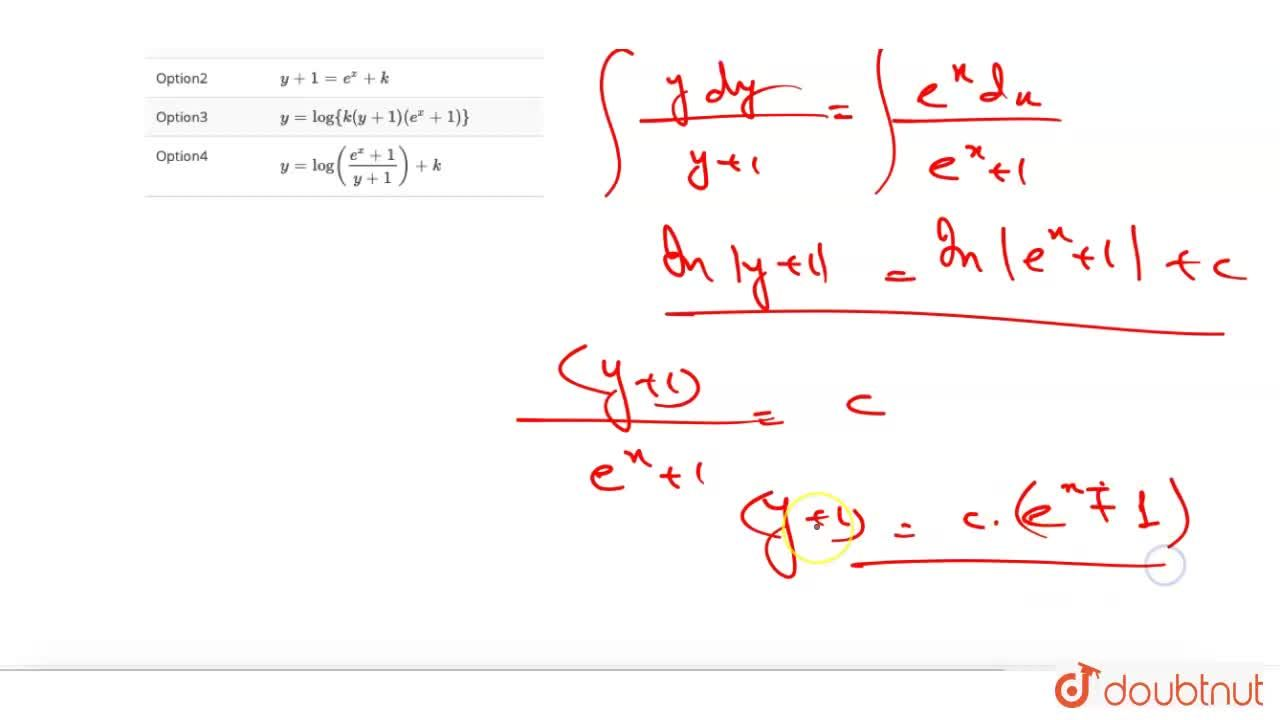 Solution for The general solution of differential equation (e^