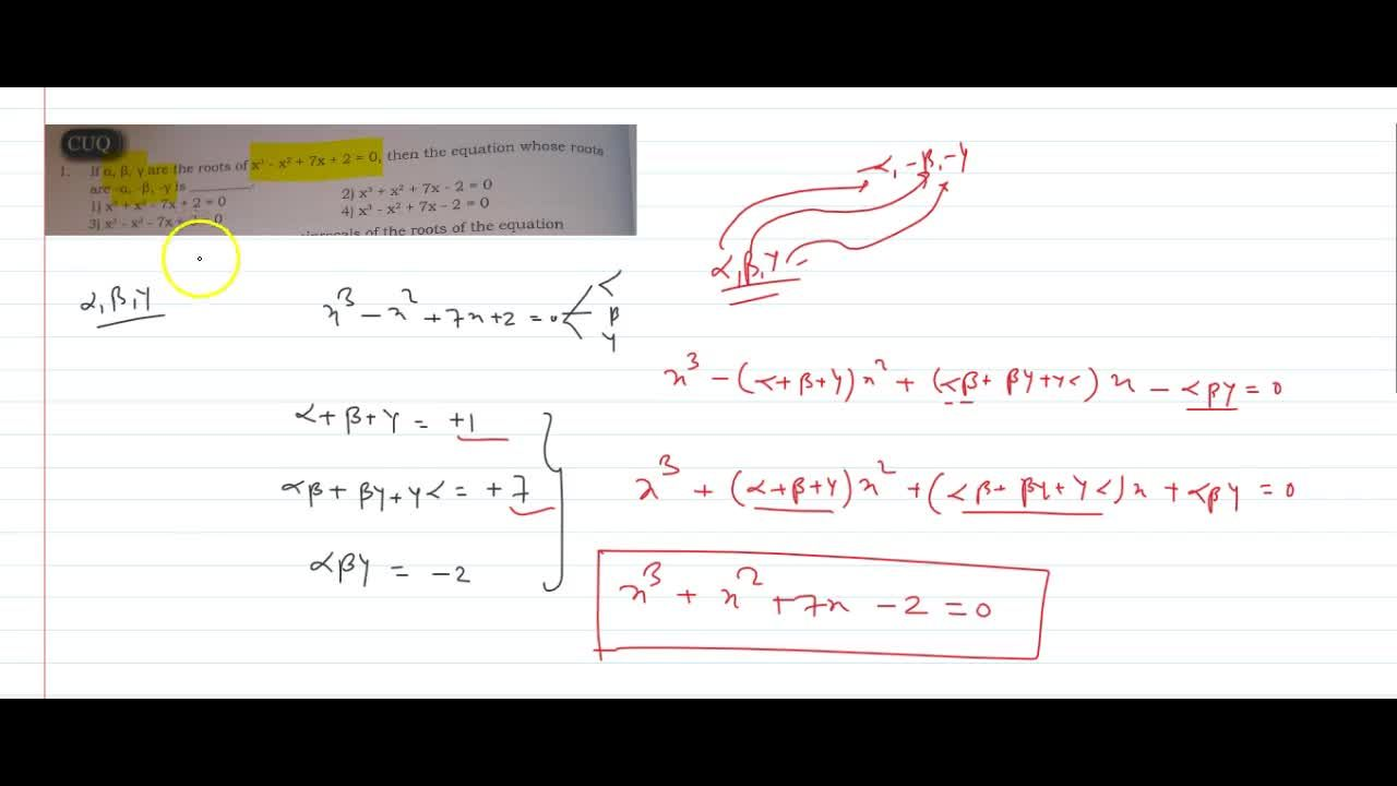 Solution for if alpha,beta,gamma are the roots of x^3 - x^2