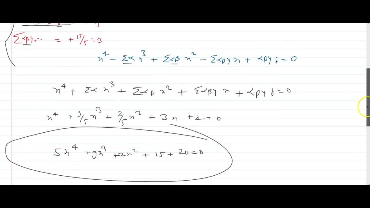 Solution for If alpha, beta, gamma, delta are the roots of 5