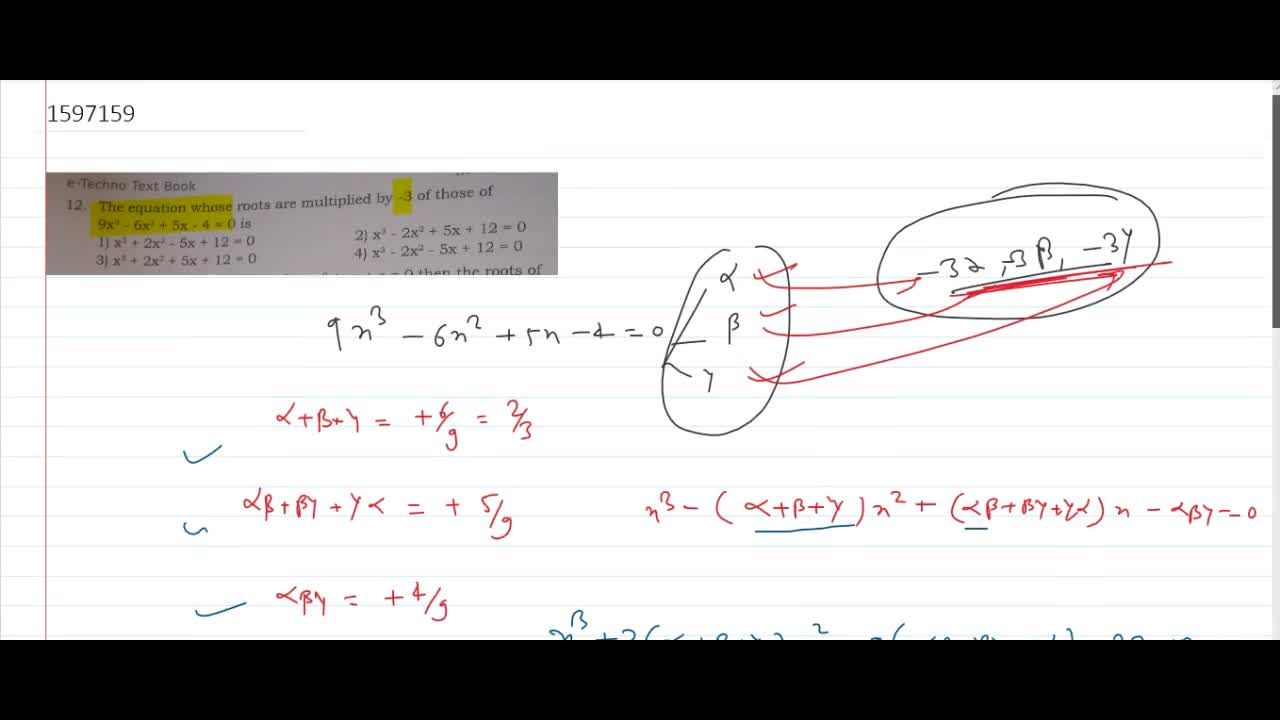 Solution for the equation whose roots are multiplied by -3 of