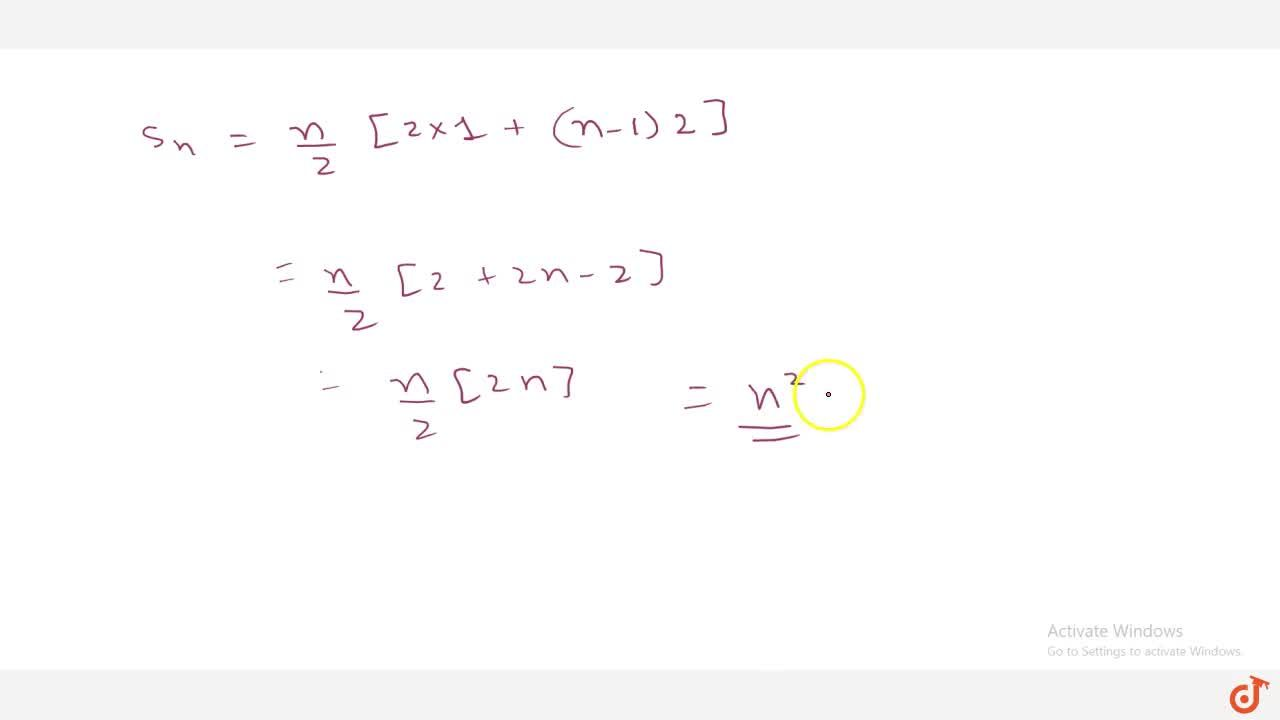 Solution for Write the   sum of first n odd natural   numbe