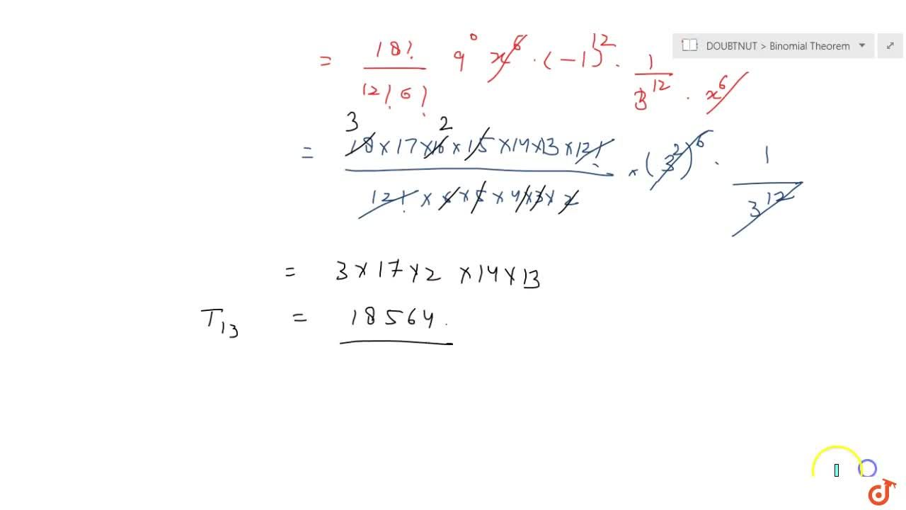 Solution for Find the 13^(t h)term  in the expansion of (9x-