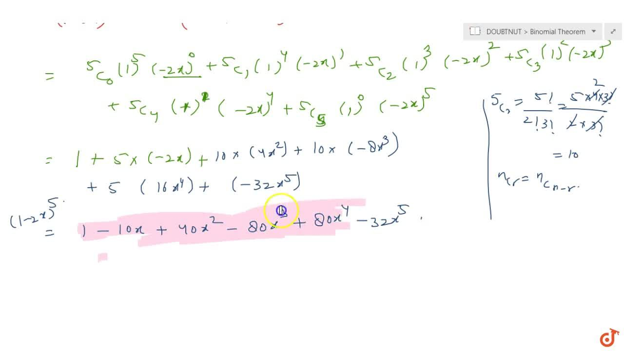 Expand of the expression : (1-2x)^5