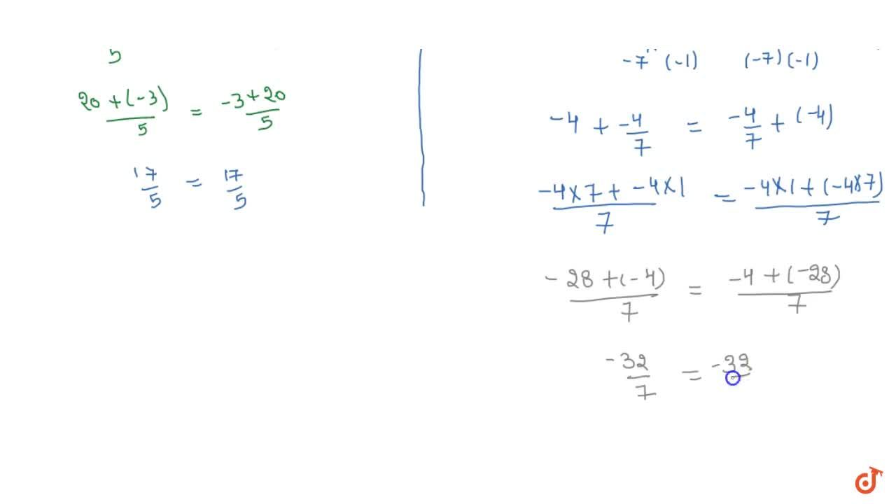 Solution for Verify commutativity of addition of rational   nu