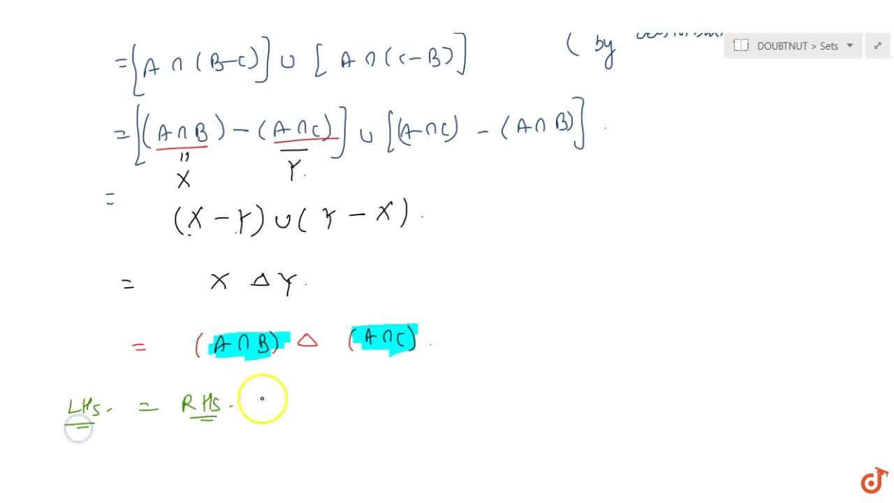 Solution for If A and B are two sets then Ann(BDeltaC)=(AnnB)D