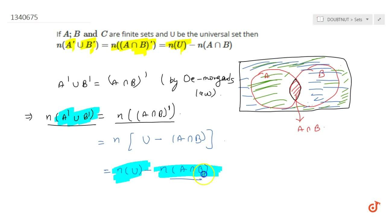 Solution for If A;B and C are finite sets and U be the univer