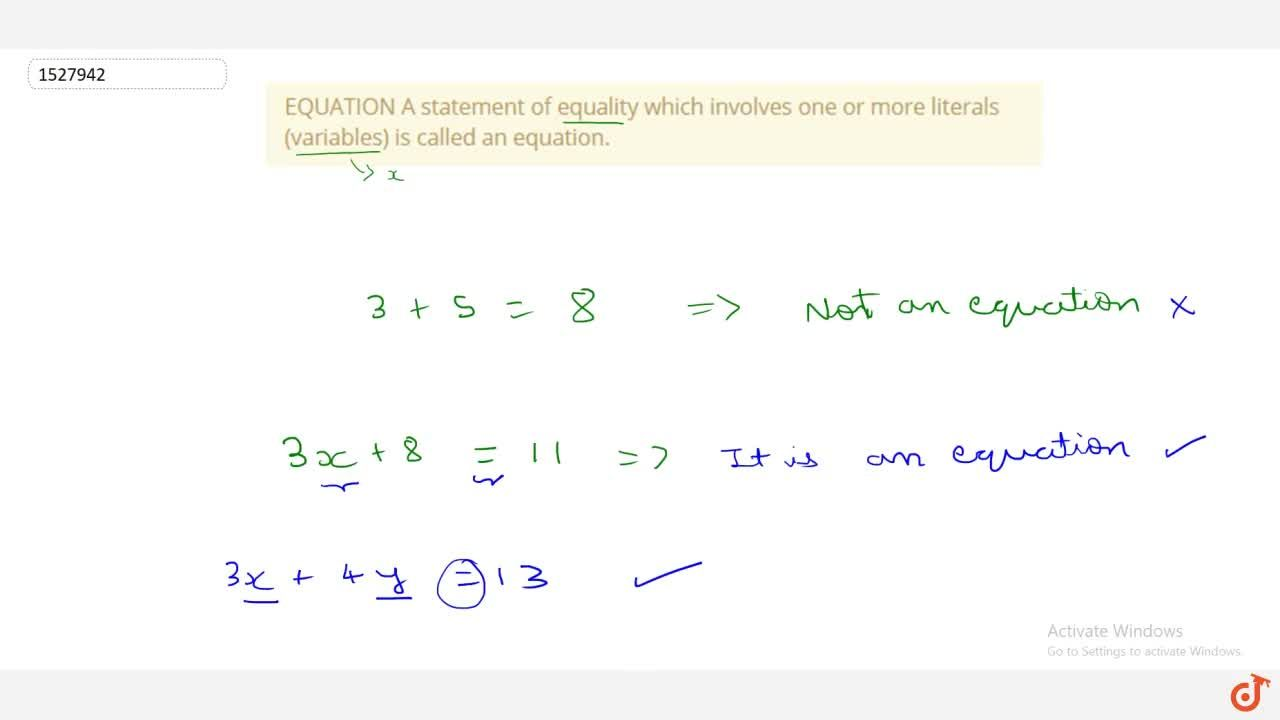 Solution for EQUATION A statement of equality which involves on