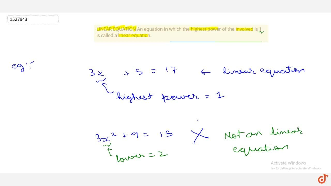Solution for LINEAR EQUATION An equation in which the highest p
