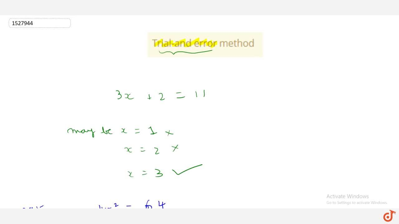 Solution for Trial-and error method