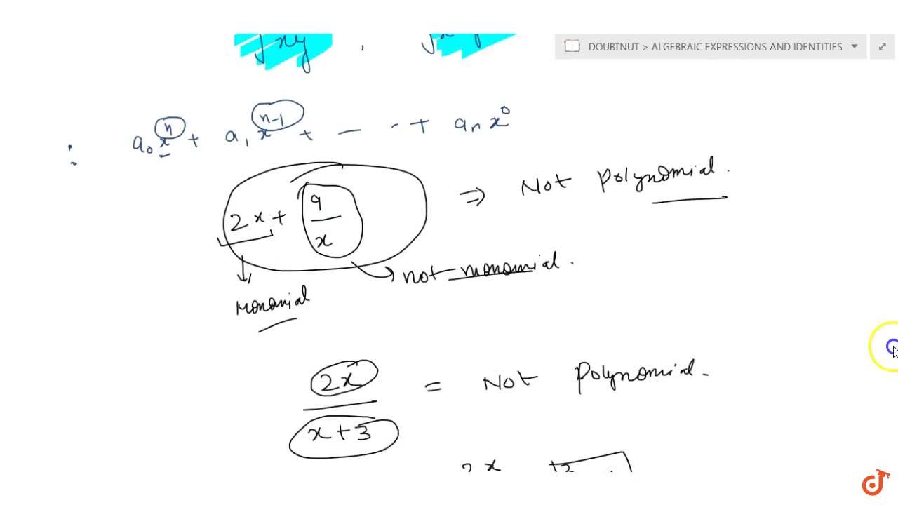 Solution for Algebraic expressions which are not polynomials