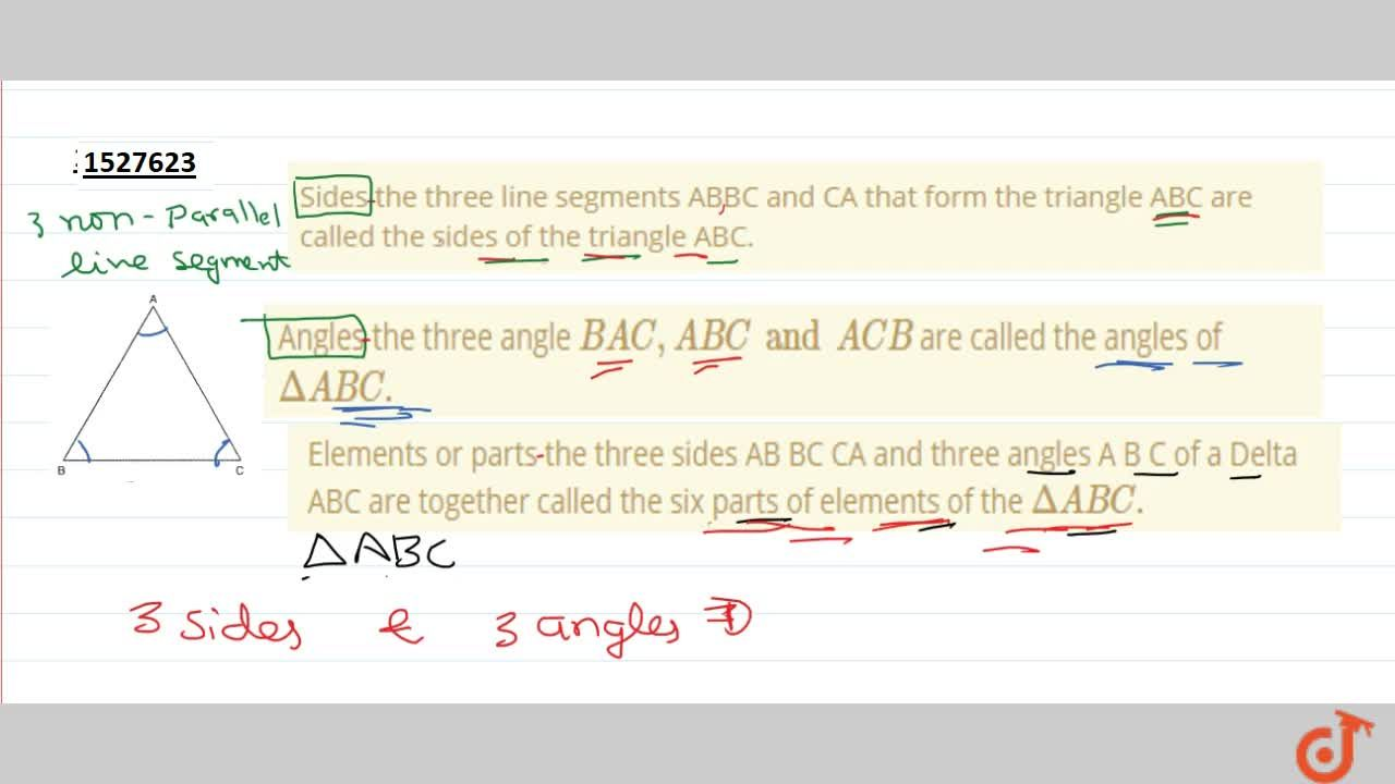 Solution for Elements or parts the three sides AB BC CA and thr