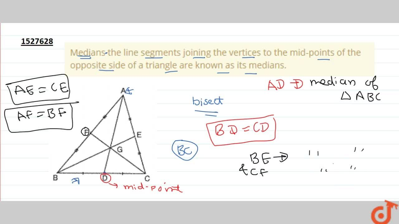Solution for Medians the line segments joining the vertices to