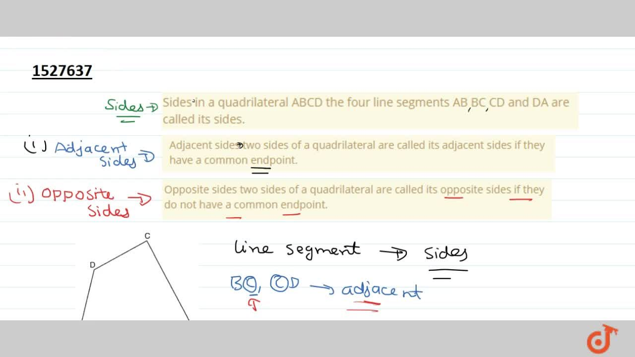 Solution for Sides in a quadrilateral ABCD the four line segmen