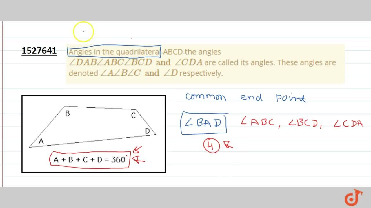 Solution for Angles in the quadrilateral ABCD the angles ,_ DA