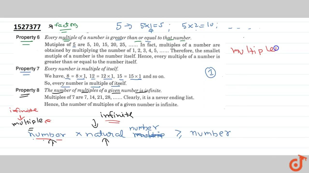 Solution for Property 6 Every multiple of a number is greater t
