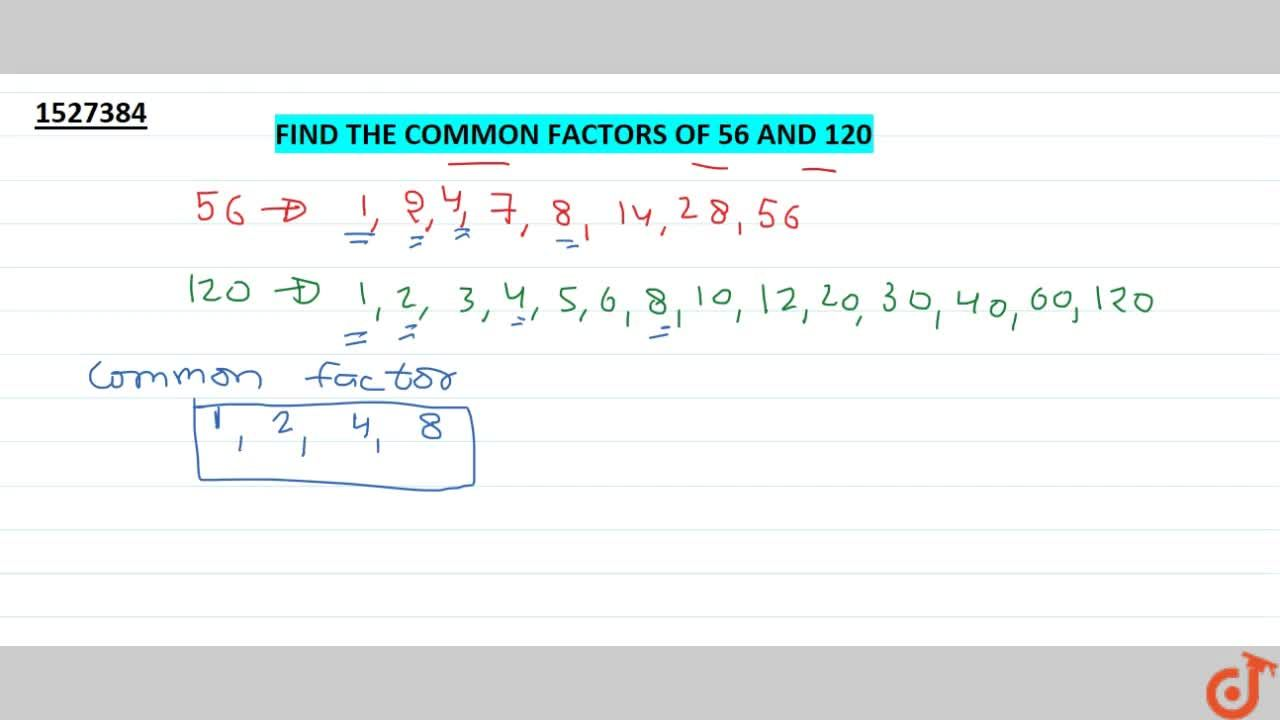 Find the common factors of 56 and 120.