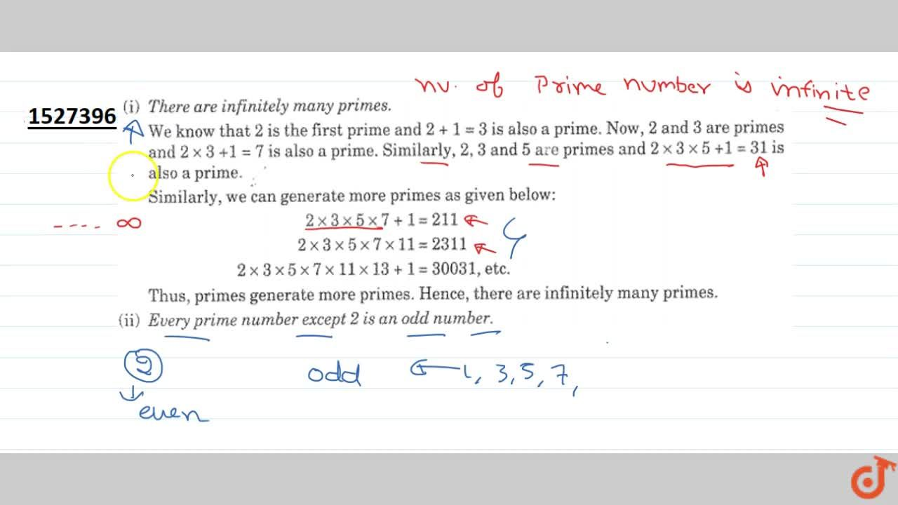 (ii) Every prime number except 2 is an odd number.