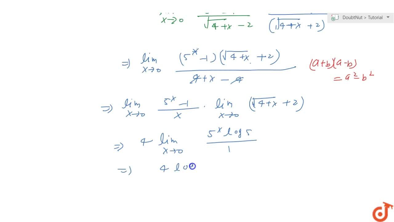 Solution for Evaluate the following limit: (lim)_(x->0)(5^x-1)