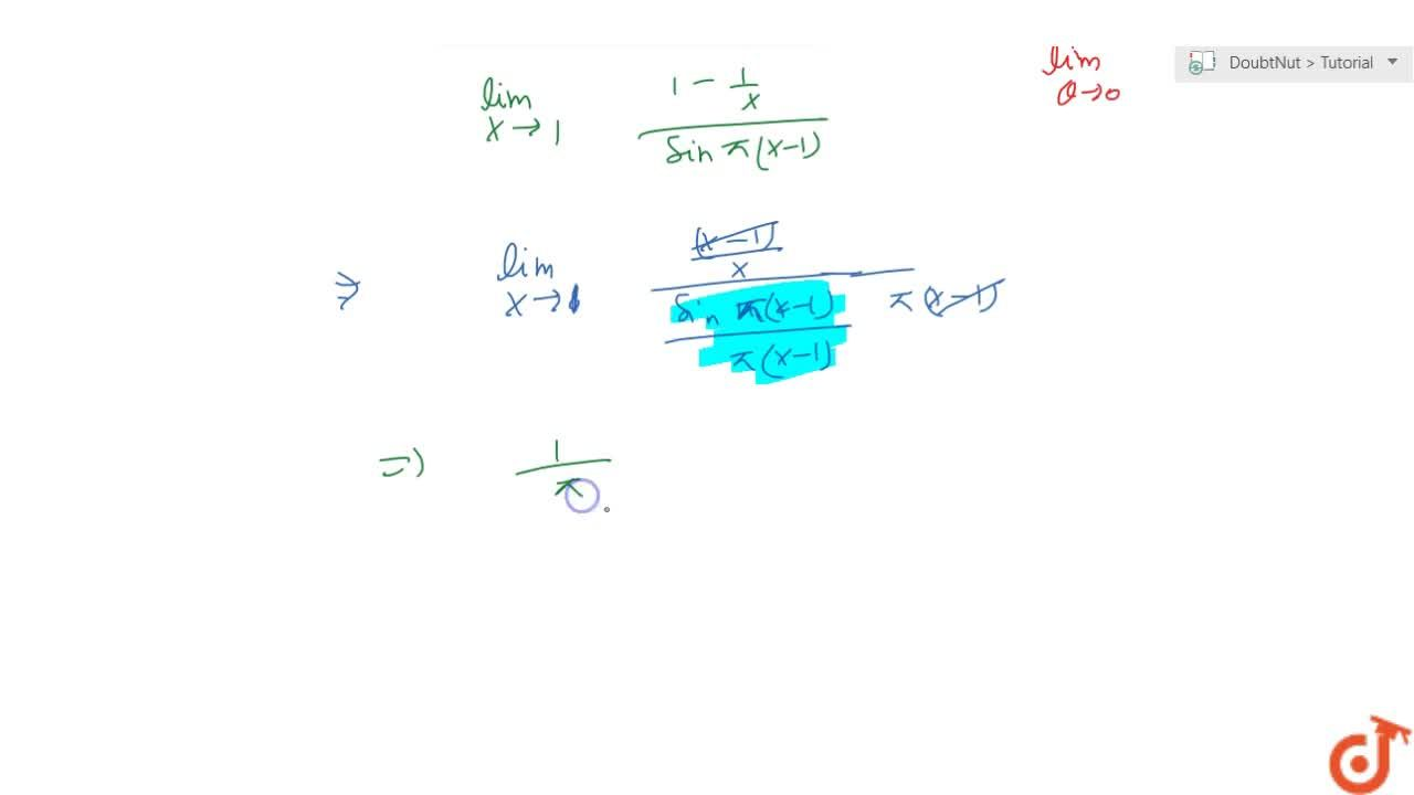Solution for Evaluate the following limit: (lim)_(x->1)(1-1,x)