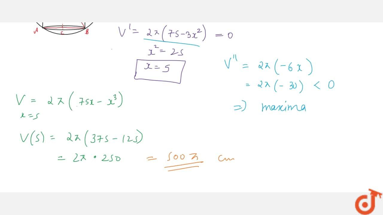 Solution for Show that the maximum   volume of the cylinder wh