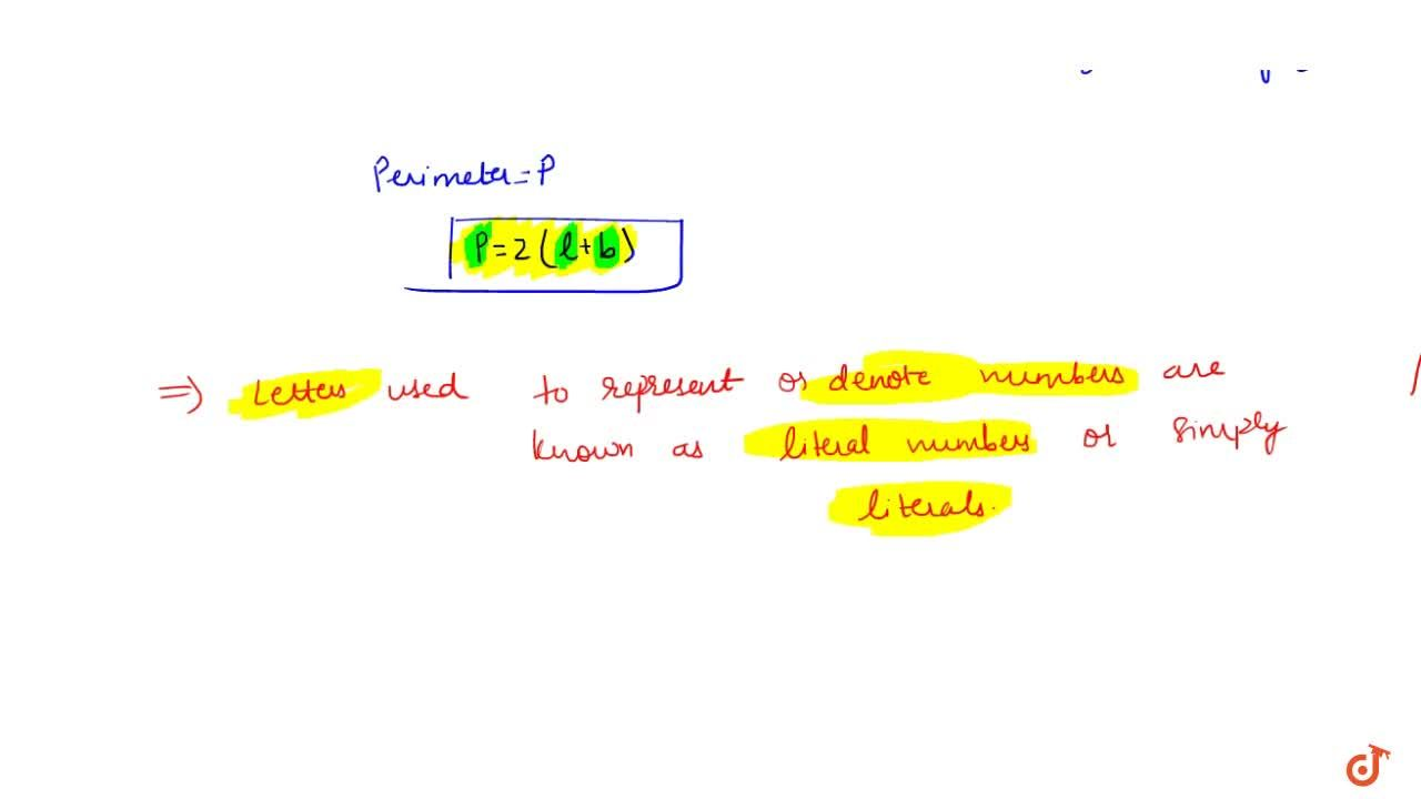 LITERALS The letters which are used to represent or replace numbers are known as literal numbers or simply literals.