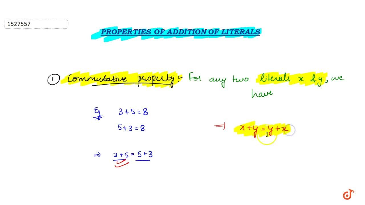 Solution for Commutativity : For any two literals a and b we